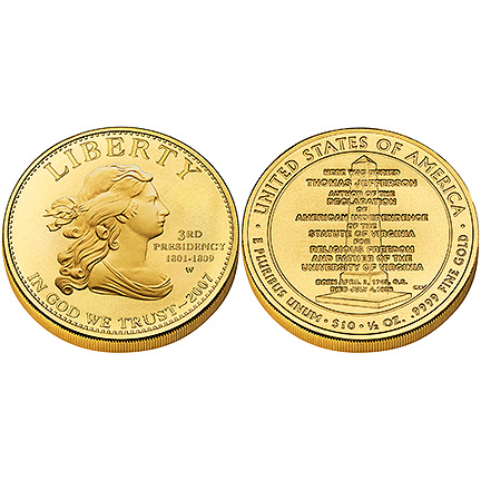 Jefferson's Liberty Gold 2007 Uncirculated